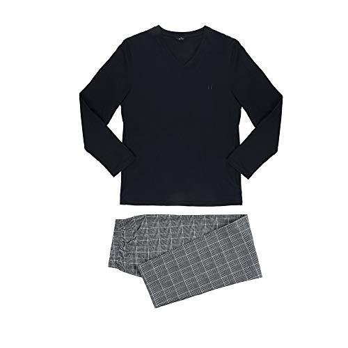 HOM Benjamin Juego de Pijama, Arriba: Negro/Abajo: Azulejos En Blanco Y Negro, M para Hombre