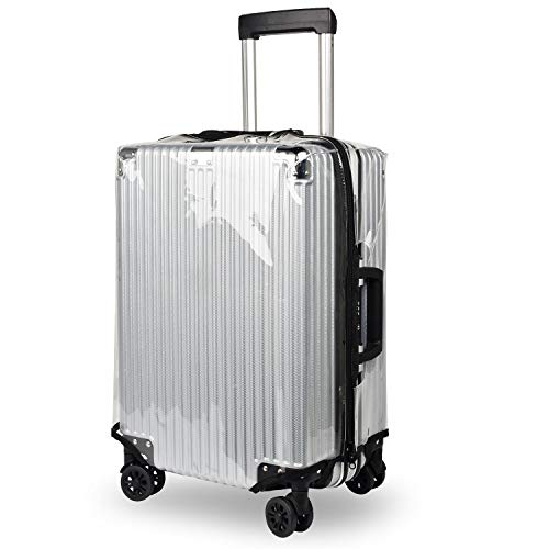 kroeus(クロース)スーツケースカバー 透明 防水 サイドジッパー キズ保護 防塵 レインカバー 旅行 PVC 広幅マジックテープ ラゲッジカバー 無地 トランクカバー 22