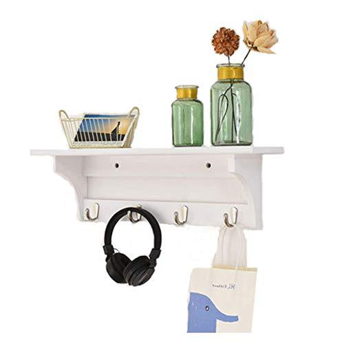 XLYYHZ Estante de madera para colgar en la entrada, con ganchos, estante de pared para entrada, sala de estar, dormitorio, exhibición 1HUIYANG-01020 (color: blanco, tamaño: 61 cm)
