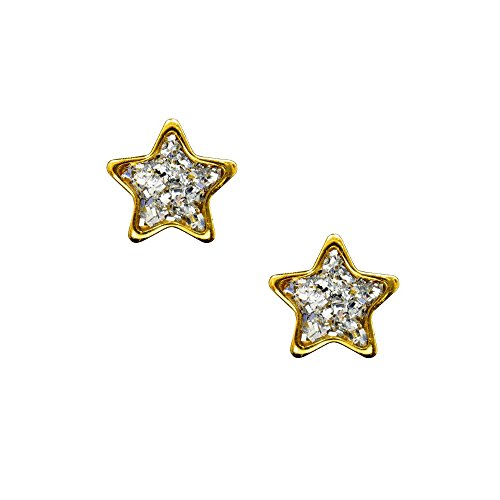 Studex - Clous d'oreilles gamme Sensible 6 mm en forme d'étoile à centre pailleté transparent, plaqué or