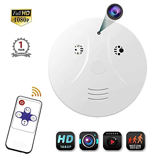 Viiwuu Smoke Detector Camera, Amayia Upgrate Hidden Cameras 1080P Video Camera for Indoor Home Security Monitoring Nanny Cam Motion Detection Hidden Cameras Yellow
