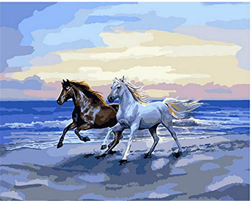 Kit fai da te per dipingere con i numeri, per adulti, bambini, principianti, 16 x 20 pollici – Cavalli sulla spiaggia (senza telaio)