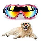 Outamateur Dog Sunglasses Dog Goggles Pet Glasses Pet Eyewear with Adjustable Strap for Travel Skiing Anti-Fog Dog Snow Goggles Pet Goggles UV Proof Windproof Dustproof (Pink)