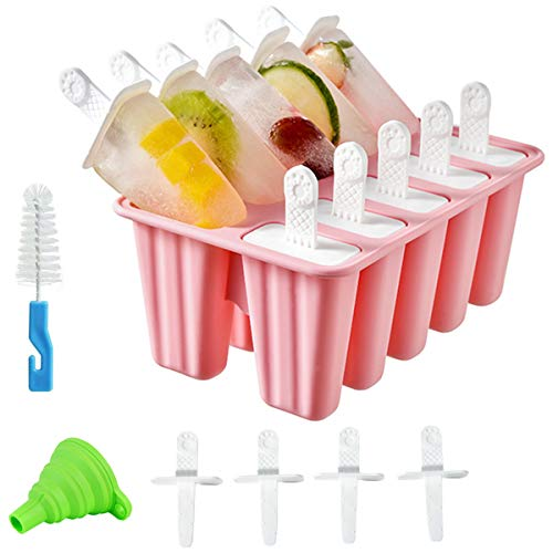 Helistar Popsicle Molds 10 Pieces DIY Reusable Silicone Ice Pop Molds Easy Release Ice Pop Maker with 14 Reusable Popsicle Sticks Silicone Funnel and Cleaning Brush, Pink