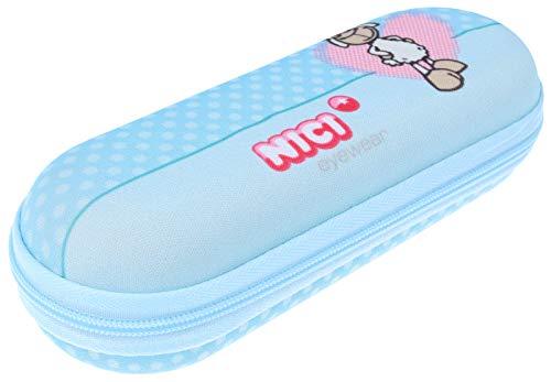 Schickes Brillenetui aus robustem Textil für Kinder NICI mit Reißverschluss in niedlichem Hellblau