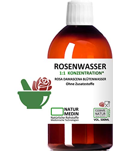 ROSENWASSER 1000-ml, Ayurverda, Körper- und Gesichts-wasser, 100% naturrein, 1:1 Konzentration, Rosa damascena Blüttenwasser, ohne Zusatzstoffe, PET Braunflasche, nachhaltig