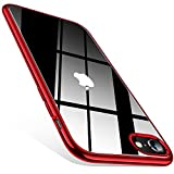 TORRAS Crystal Clear iPhone SE Case 2020 / iPhone 8 Case/iPhone 7 Case [Anti-Yellowing] Slim Soft Shockproof Case for iPhone 7/8 & iPhone SE 2020 - Red