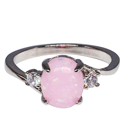 Clearance!!Women'S Sterling Silver Rings,Beautytop Oval Cut Fire Opal Diamond Rings For Women Women Fashion Simple Fashion Shiny Jewelry Lovers Ring,Women Gift Sets Sale (Pink, Q)