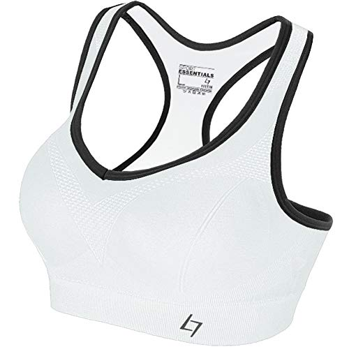 FITTIN Racerback Sports Bras for Women- Padded Seamless High Impact Support for Yoga Gym Workout Fitness White XL