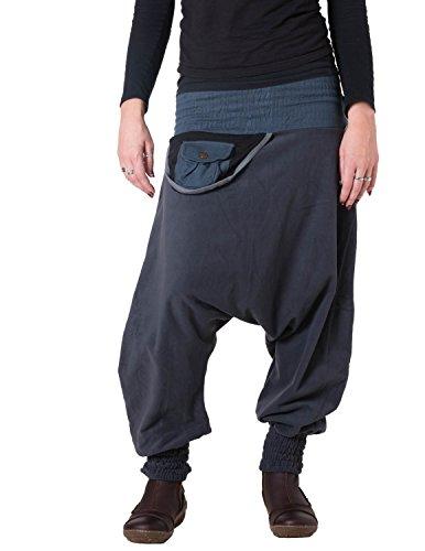 Vishes - Alternative Bekleidung - Warme Thermo Haremshose aus Fleece mit Tasche und weichem Jersey Bund Dunkelgrau