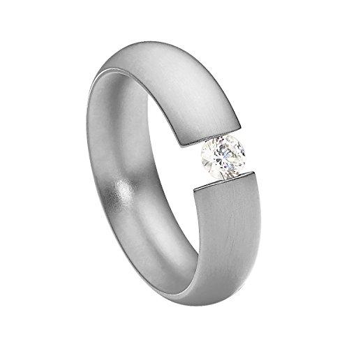 SteelArt heideman Damen-Ring intensio Matt Spannring mit Swarovski Stein Weiß 4 mm funkelt Wie Ein Diamant aus Edelstahl Silber farbend Größe 54 (17.2)