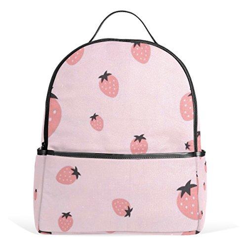 Tizorax rosa fragola frutta di zaino casual zaino a spalla per Student bag borsetta–leggero