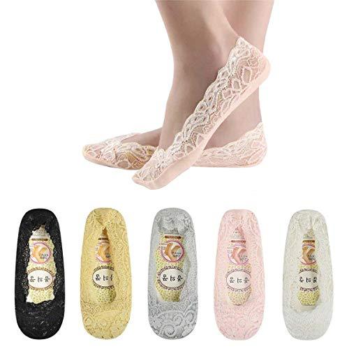 Tuopuda 5 Paar Damen Füßlinge Ballerina Socken Spitzen-Füßlinge Sommer Socken mit Rutschfeste Silikon, 5 Colors, Einheitsgröße