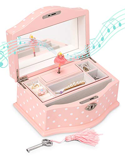 Elle Jewelry Box - Ballerina Jewelry Organizer and Swan Lake Wind-Up Music Box for Girls and Teens, Accessories and Keepsake Wooden Storage with Lock and Mirror, Charming Room Decor and Gift, Large