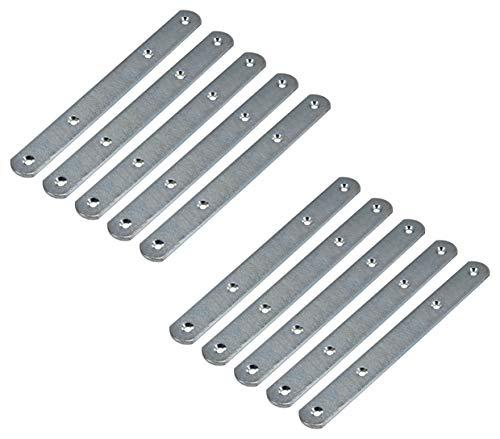 Gedotec Lot de 10 raccords de meubles en métal avec 4 trous de vis pour façades et armoires de meubles - En acier galvanisé - Connecteurs de plan de travail de 190 mm de long - Pour armoire en bois