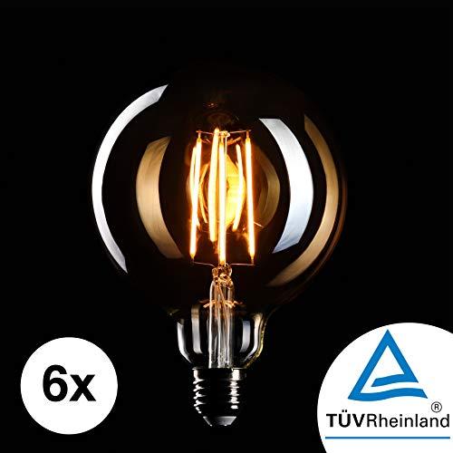 CROWN LED 6 x Edison Glühbirne E27 Fassung, Dimmbar, 4W, Warmweiß, 230V, MasterGlobe, Big-Globe, EL05, Antike Filament Beleuchtung im Retro Vintage Look