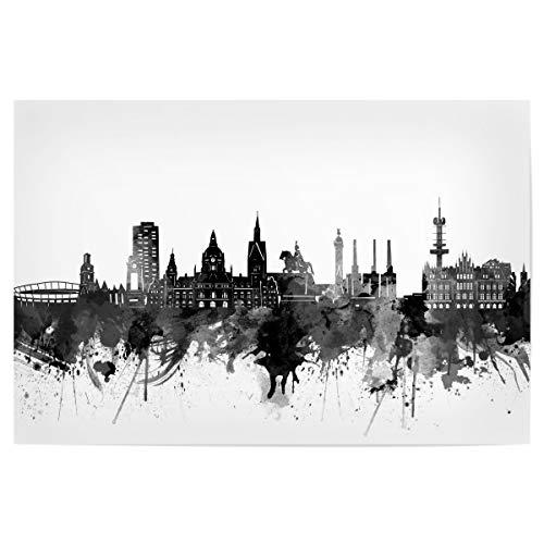 artboxONE Poster 120x80 cm Städte Hannover Skyline Black - Bild Hannover Black and White Cities