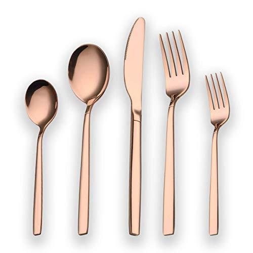 Berglander 30 Stück Titanium Rosé vergoldet Besteck, 30 Stück Kupfer Besteck Set, Kupfer Farbe Besteck Set Besteck-Sets, Service für 6 (glänzend Kupfer)