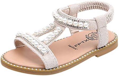 Mitlfuny Niñas Bebe Sandalias Suela con Goma Antideslizantes Perla Rhinestone Romanas Sandalias Princesa Zapatos Primavera Verano Niña Moda Calzado Zapatillas de Playa Recién Nacido Niño 1-6 Años