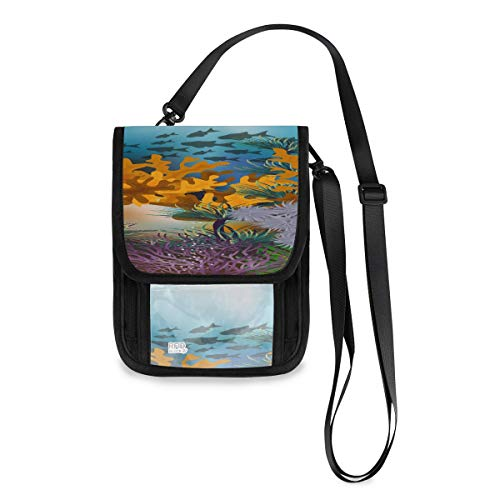 Tropical Underwater Dolphins Men Traveling Wallet Custom Lightweight Best Passport Holder With A Long Strap Neck Wallets For Travel Neck Pouch Wallet