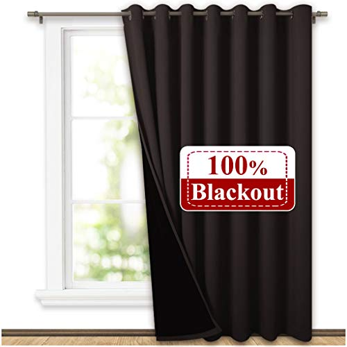 NICETOWN Extra Wide Patio Door Curtain, Super Heavy-Duty Thermal Sliding Glass Door Lined Drape, Privacy Assured 100% Blackout Window Treatment(Brown, 1 Panel, 100 inches W x 84 inches L)