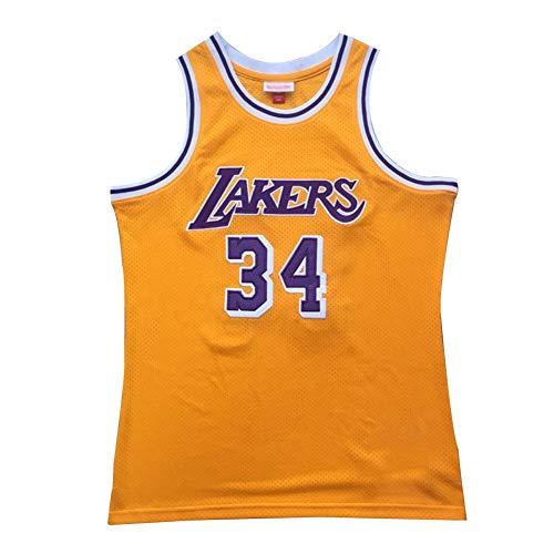 CLKJ # 34 Shaquille O'Neal Lakers Basketball Jerseys, Bordado de Hombres Sudadera Retro, Camiseta cómoda Transpirable Yellow-XL