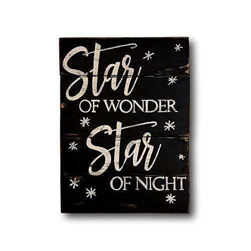 prz0vprz0v ster van Wonder hout kerstbord- kerstversiering - wij drie koningen hout kerstbord-kerst Mantel Decor 18 x 24 Inch houten teken