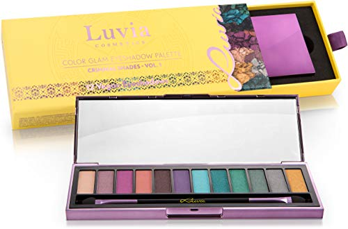 "Luvia Cosmetics - Palette di Ombretti ""Color Glam Palette"" Palette di 12 Colori Professionali, Tonalità vive e colorate dal verde al rosa - Kit di Make up Trucco Professionale"