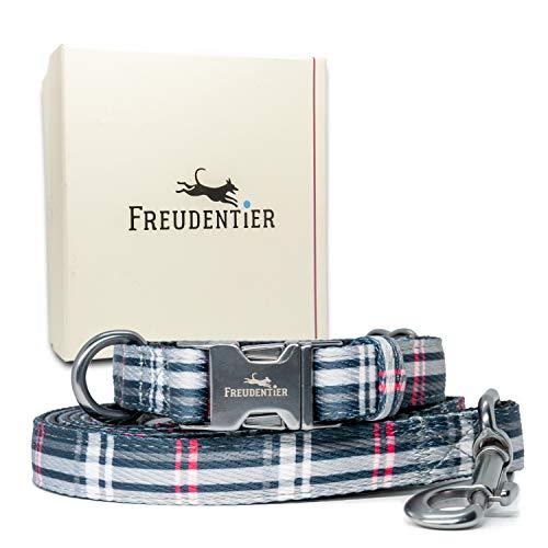 Freudentier Hundeleine (2m) + Hundehalsband im Set | Inkl Geschenkbox | Maskulin & zeitlos elegant