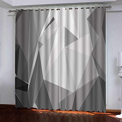 WLHRJ Cortina Opaca en Cocina el Salon dormitorios habitación Infantil 3D Impresión Digital Ojales Cortinas termica - 280x200 cm - Impresión geométrica Gris Tridimensional