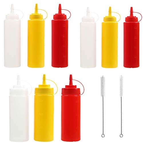 Botella de Salsa Condimento Botellas de Plastico con Tapas Squeeze Bottle Dispensador de Botellas para Condimentos, Salsa de Tomate, Mostaza, Mayonesa, Salsa Picante Y Aceite De Oliva