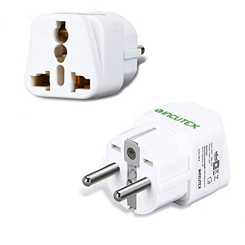 Incutex 2X universal Steckdosenadapter Reiseadapter universal Reisestecker US UK zu EU DE Schuko universal travel Adapter Plug, weiß