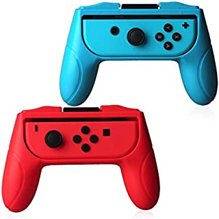 Duttek Grips compatible with Nintendo Switch joy-con grip,Left and right hand Ergonomic design Handle, Grab control and elevate your game with the FastSnail Grip Kit,2 Pack (Red and Blue)