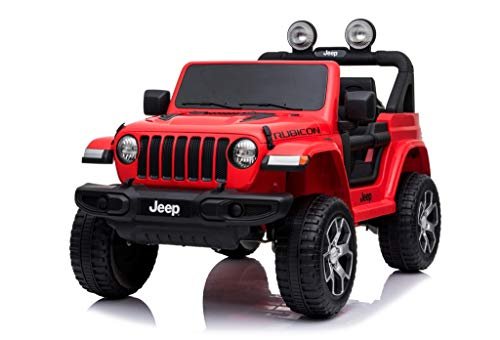 Mondial Toys Auto ELETTRICA 12V per Bambini 2 POSTI Jeep Wrangler Rubicon con Telecomando 2.4G Soft Start AMMORTIZZATORI Full Optional Rosso