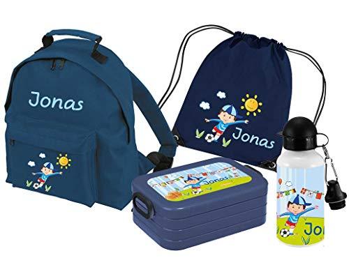 Mein Zwergenland | Personalisertes Kindergartenrucksack-Set | Kinderrucksack Classic mit Name | Lunchbox Maxi mit Name | Turnbeutel mit Name | Personalisierte Trinkflasche | Navy | Junge