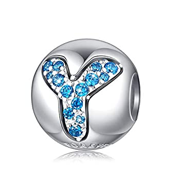 Alphabet Charm Initial Charm Letter Y Charm Bead in 925 Sterling Silver with 5A Blue CZ fit Pandora Charms Bracelet Necklace for Birthday Fashion Women Girls Boy Men Gifts