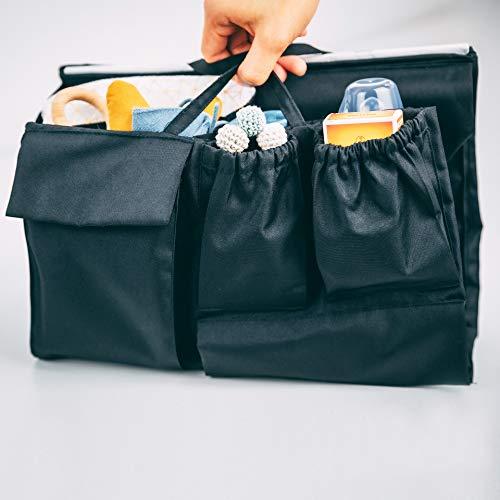 lilibell Baby Wickeltasche Handtasche Organizer, zahlreiche Fächer, wasserabweisend und flexibel für Shopper/Rucksäcke - Bag in Bag (Schwarz)