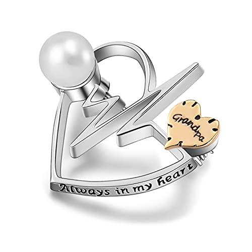 Liart Broche de Urna de Cremación para Cenizas Encanto de Corazón Siempre en mi Corazón Broches Conmemorativos Broche de Perlas de Recuerdo Regalo de Joyería de Electrocardiograma