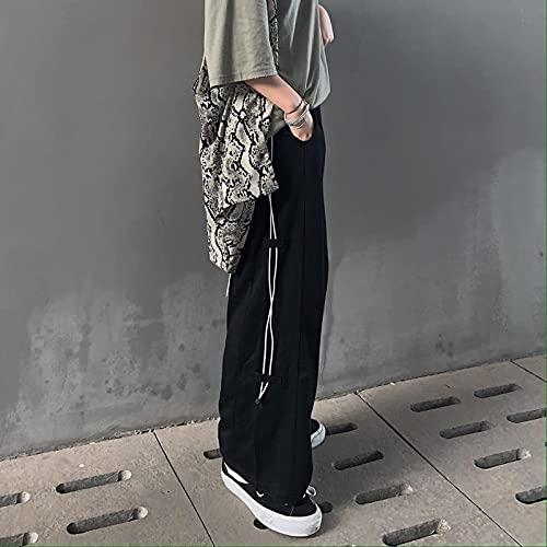 Pantalones Anchos Pantalones Cortos De Pierna Ancha De Cintura Alta Para Mujer Pantalones Negros Por Encima De La Rodilla Con CordóN Pantalones Sueltos Casuales De AlgodóN De Estilo Coreano L Negro
