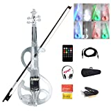4/4 Electronic Violin Bluetooth LED Color Light Violin Acrylic Transparent Material Beginner Set with Box Headphones Bow Remote Control