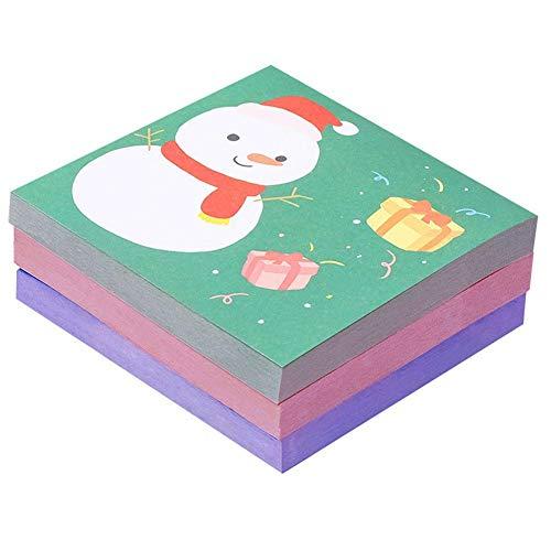 50 hojas Blocs de notas autoadhesivos de Feliz Navidad Notas de mensaje de muñeco de nieve lindo Bloc de notas decorativas Papel de notas Memo Papelería Suministros de oficina