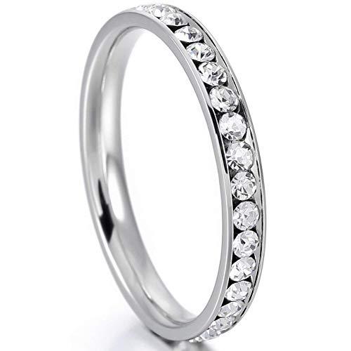 Flongo Damesring, voor meisjes, vrouwen, roestvrij staal, zilver, wit, strass, lijn, breed, 4 mm, voor dames en meisjes