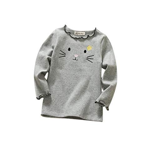 DEBAIJIA DEBAIJIA Baby Mädchen T-Shirts Langarm Bluse Cartoon Langarmshirts Oberteile Baumwolle Warm bleiben Weich Atmungsaktiv Süß Kaschmir Winter Pullover Lange Ärmel Shirt für 1-4Jahre Kind-Kleidung