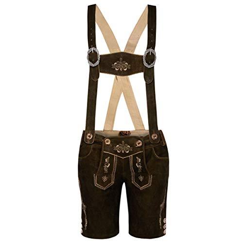 MarJo Trachten Damen Trachten-Mode Kurze Lederhose Leni in Dunkelbraun traditionell, Größe:34, Farbe:Dunkelbraun