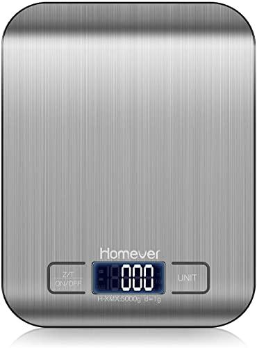 HOMEVER Balance de Cuisine Électronique Balance de Précision, Tare,Portée 5 kg/11Lb, Acier Inoxydable Bouton Sensible Écran LCD Rétroéclairé Auto-arrêt