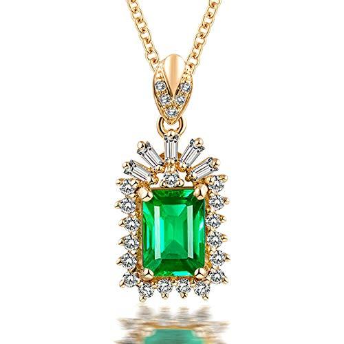 Beydodo Hochzeit Kette 750 Gold 18 Karat mit Anhänger 0.94ct Smaragd, Halskette Charm mit Diamant Echt Damen Kette 45CM