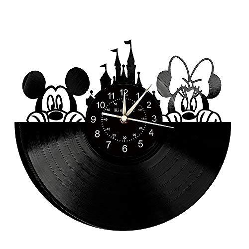 Smotly Vinyl Wanduhr, Mickey und Minnie Maus Thema Wanddekoration große Uhren, Mickey und Minnie Liebhaber Hauptdekoration Geschenke,B