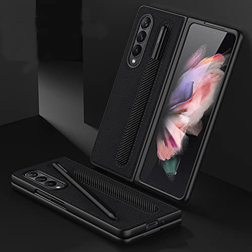 Koconh For Samsung Galaxy Z Fold 3 5G Case with Pen Holder - Z Fold 3 Leather Case - Luxury Business Pu Leather Case with Pen Slot (Black)