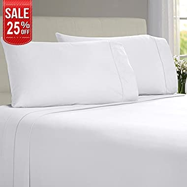 Linenwalas Todays Deal Bamboo Sheets – 100% Organic Softest Moisture Wicking Deep Pocket Bedding   Silk Like Soft, Wrinkle Free Cooling Luxury Hotel Bed Sheet Set (Queen Size, White)