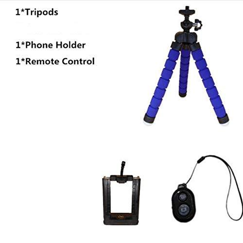 Bluetooth Afstandsbediening+Mini Flexibele Statief+Telefoonhouder Clip + Tas voor Gopro Hero 3 4 Voor iPhone 6 7 Voor xiaomi, Blauw